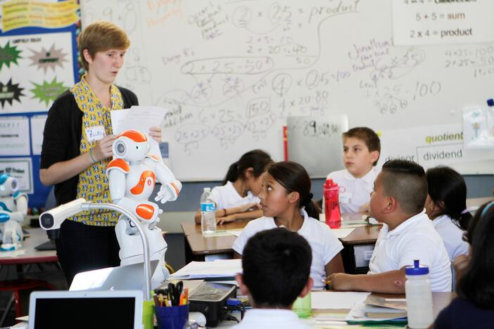 Teacher with NAO robot-1